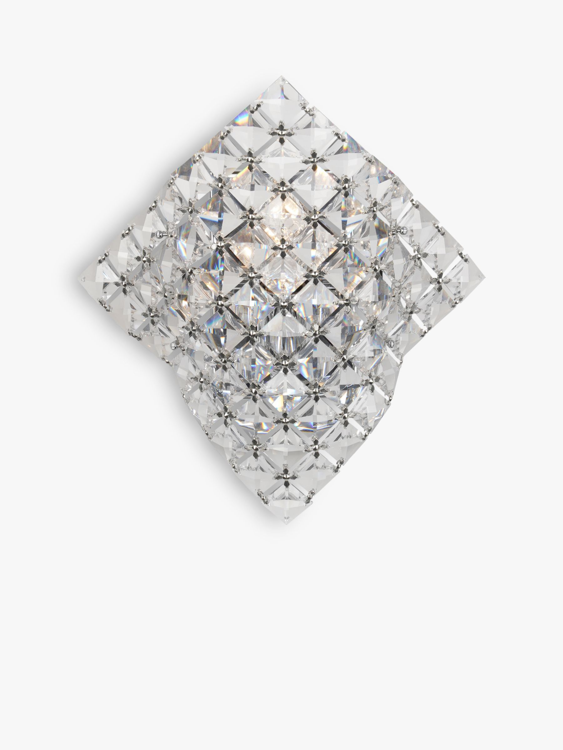 Impex Impex Diamond Cube Crystal Wall Light, Clear/Chrome
