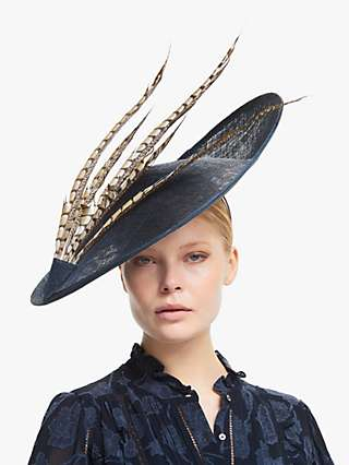 Whiteley Tabitha Feather Detail Occasion Hat, Navy