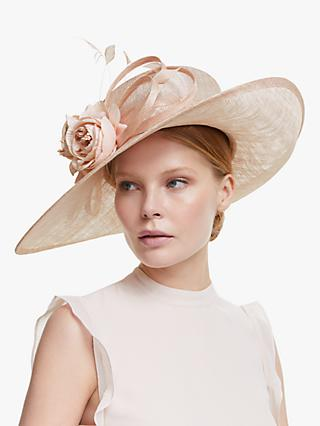John Lewis & Partners Whitney Flower Side Up Brim Occasion Hat, Metallic Oyster