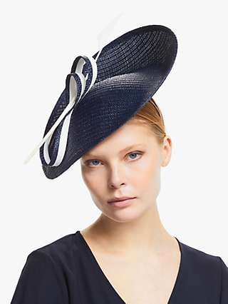 Whiteley Kate Loop Detail Occasion Hat, Navy/Ivory