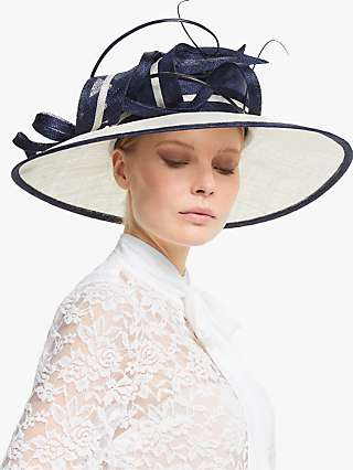 John Lewis & Partners Valentina Loop and Quill Disc Occasion Hat, Navy/Ivory