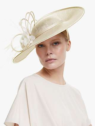 John Lewis & Partners Naomi Loop and Flower Wide Disc Occasion Hat, Champagne/Ivory