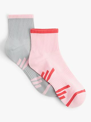 John Lewis & Partners Stripe Sports Ankle Socks, Pack of 2, Blush/Grey