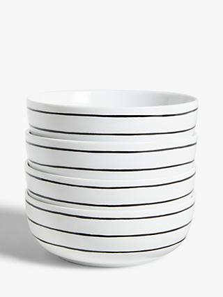 House by John Lewis Linear Cereal Bowls, Set of 4, White/Black
