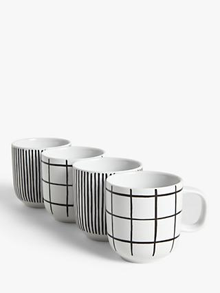 House by John Lewis Linear Mugs, Set of 4, White/Black