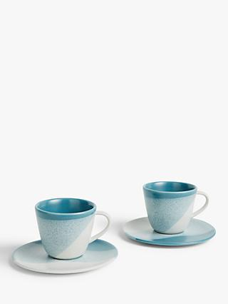 LEON Supper Club Espresso Cup & Saucer, 100ml, Set of 2, Teal