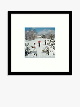Getty Images - Slim Aarons 'Skiing Waiters' Wood Framed Print & Mount, 59.5 x 59.5cm