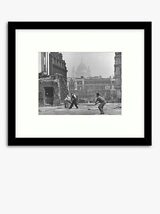 Getty Images - London Blitz Cricket Wood Framed Print & Mount, 49.5 x 57.5cm