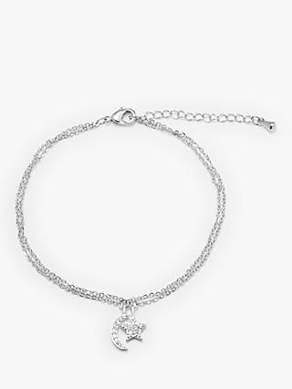 John Lewis & Partners Star and Moon Double Chain Bracelet, Silver