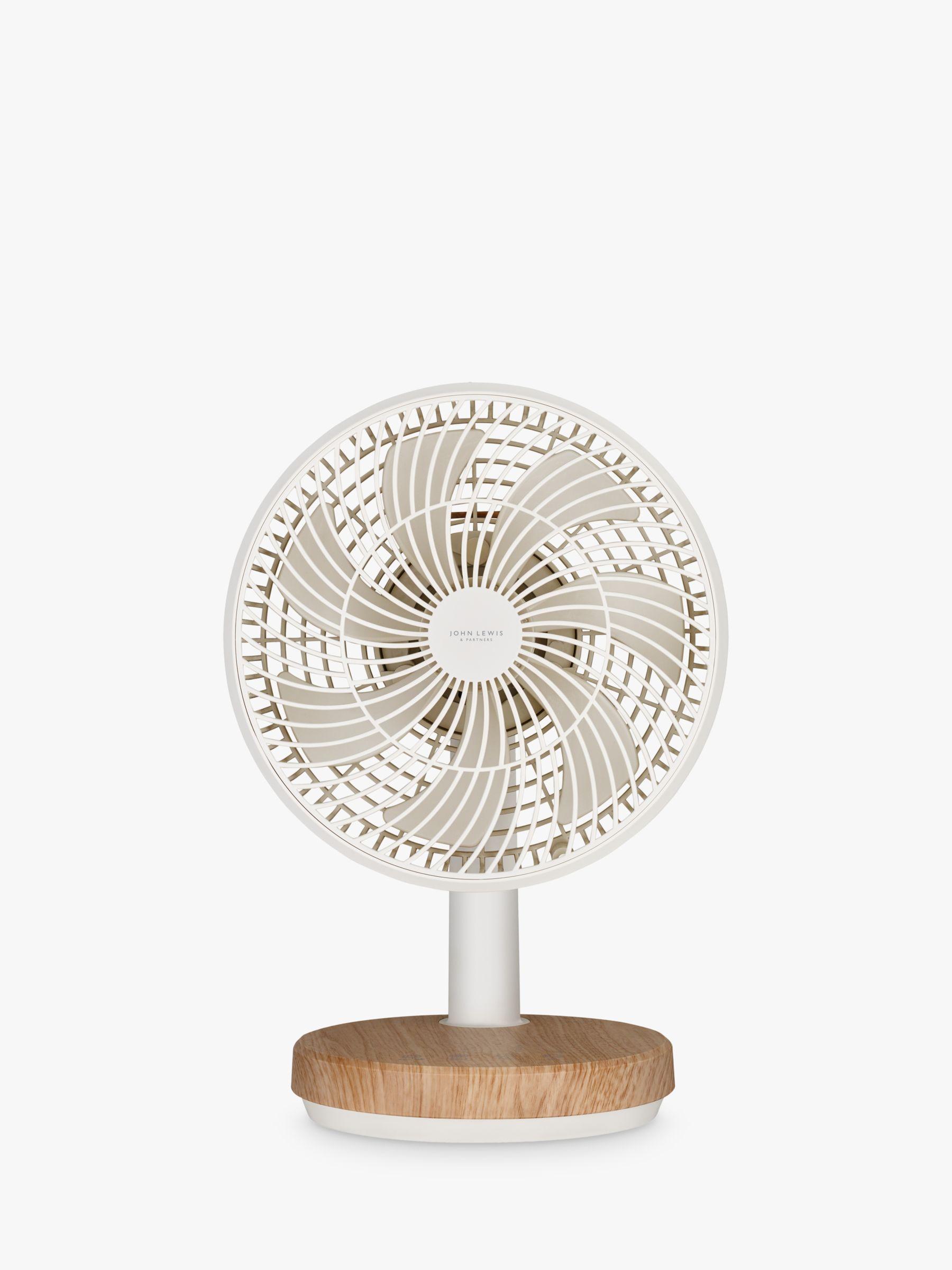 John Lewis & Partners Wood Effect Desk Fan, 9