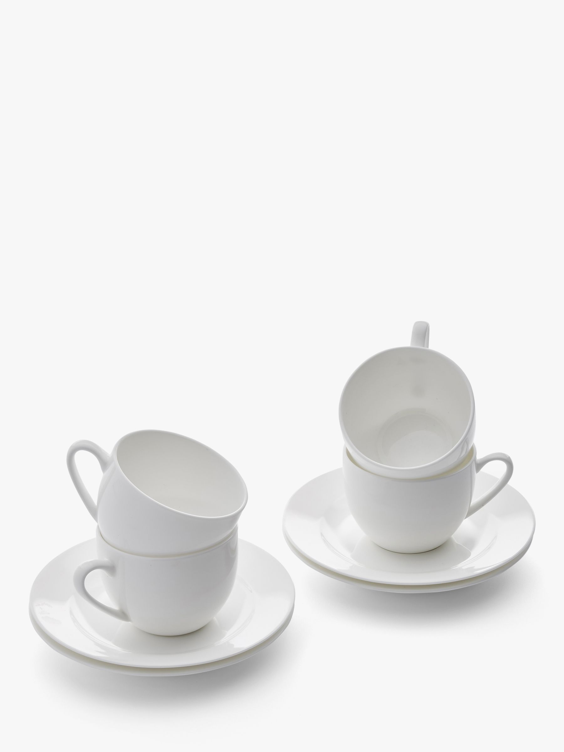 Royal Worcester Royal Worcester Serendipity Bone China Teacup & Saucer, 220ml, Set of 4, White