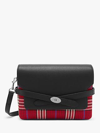 Mulberry Small Belted Bayswater Tartan Print Cross Body Bag, Scarlet/Black