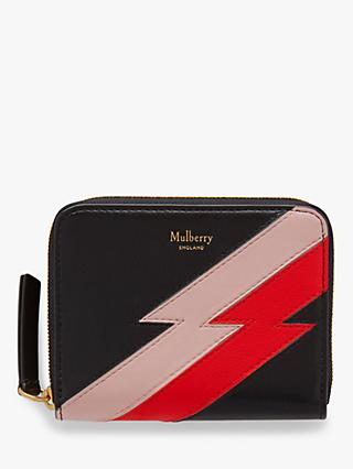 Mulberry Flash Stripe Leather Small Zip-Around Purse, Black