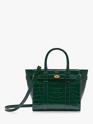 Mulberry Mini Bayswater Zipped Croc Embossed Leather Handbag
