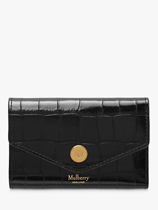 Mulberry Folded Multi-Card Leather Wallet, Black Croc Print