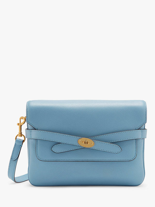 Buy Mulberry Belted Bayswater Small Printed Grain Leather Satchel, Pale Slate Online at johnlewis.com