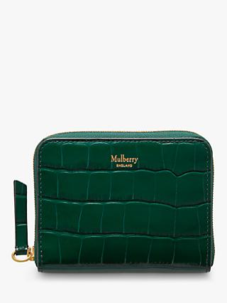Mulberry Croc Embossed Leather Zip Around Purse