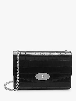 Mulberry Small Darley Croc Print Leather Cross Body Bag