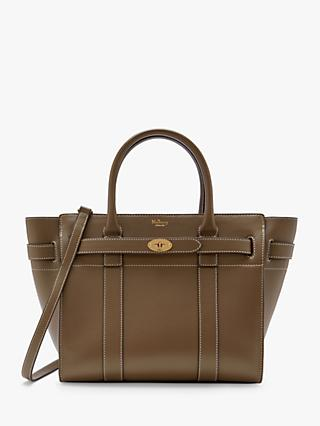Mulberry Small Bayswater Zipped Silky Calf Leather Tote Bag, Dark Palm