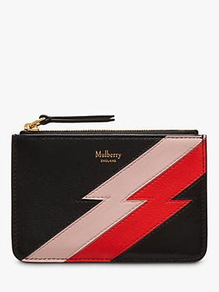 Mulberry Flash Stripe Leather Zip Coin Pouch, Black/Multi
