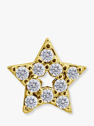 CARAT* London Saya 9ct Gold Star Single Stud Earring, Gold