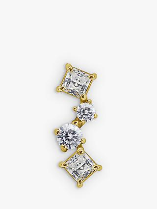 CARAT* London Nami 9ct Gold Round and Princess Cut Single Stud Earring, Gold