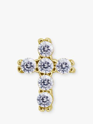 CARAT* London Yuki 9ct Gold Cross Single Stud Earring, Gold