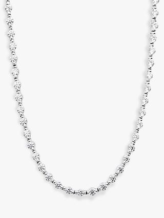 CARAT* London Coralie Round Stone Tennis Chain Necklace, Silver