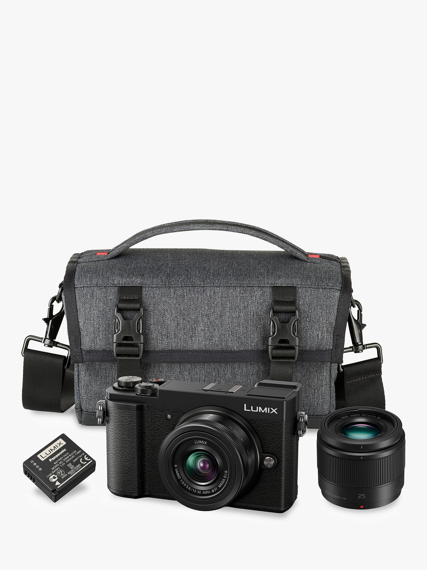 "Buy Panasonic Lumix DC-GX9 Compact System Camera with 12-32mm IS Lens & 25mm Lens, 3x Optical Zoom, 4K Ultra HD, 20.3MP, Wi-Fi, Bluetooth, Tiltable EVF, 3"" Tiltable Touch Screen, Black, Double Lens Kit with Camera Bag & Battery Online at johnlewis.com"