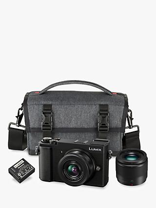 "Panasonic Lumix DC-GX9 Compact System Camera with 12-32mm IS Lens & 25mm Lens, 3x Optical Zoom, 4K Ultra HD, 20.3MP, Wi-Fi, Bluetooth, Tiltable EVF, 3"" Tiltable Touch Screen, Black, Double Lens Kit with Camera Bag & Additional Battery"