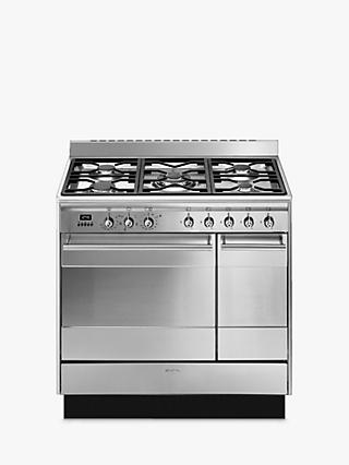 Smeg Concert SUK92MX9-1 90cm Dual Fuel Range Cooker, A Energy Rating, Stainless Steel