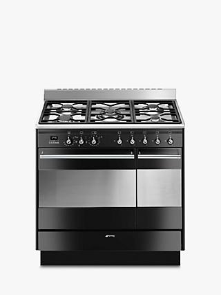 Smeg Concert SUK92MBL9-1 90cm Dual Fuel Range Cooker, A Energy Rating, Black