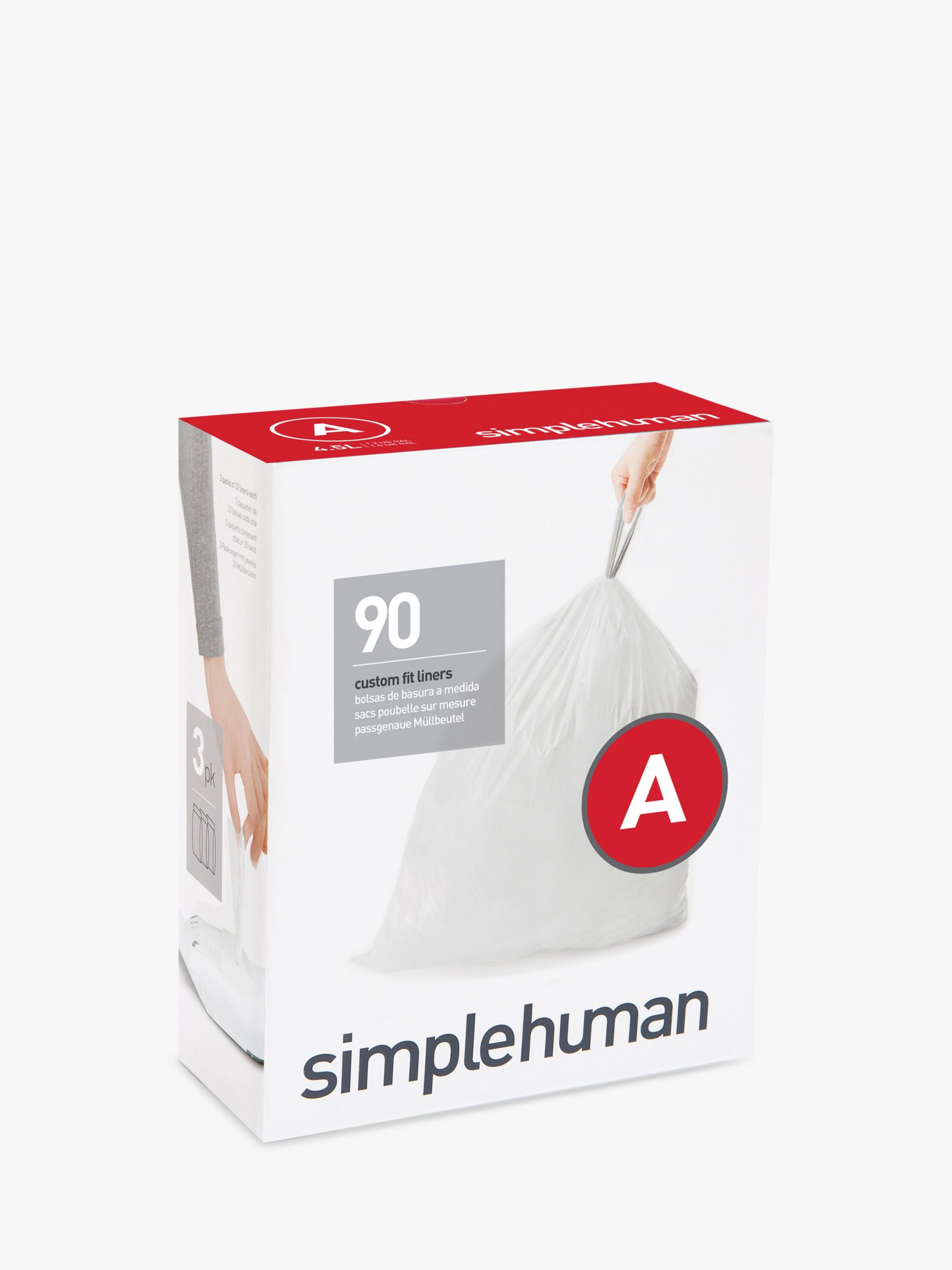 Simplehuman simplehuman Bin Liners, Size A, Three Packs of 30