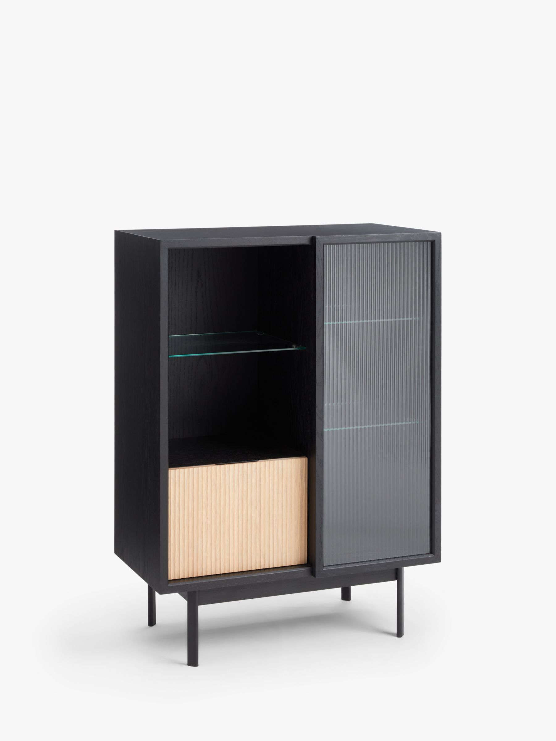 John Lewis & Partners Fluted Glass Storage Cabinet, Black