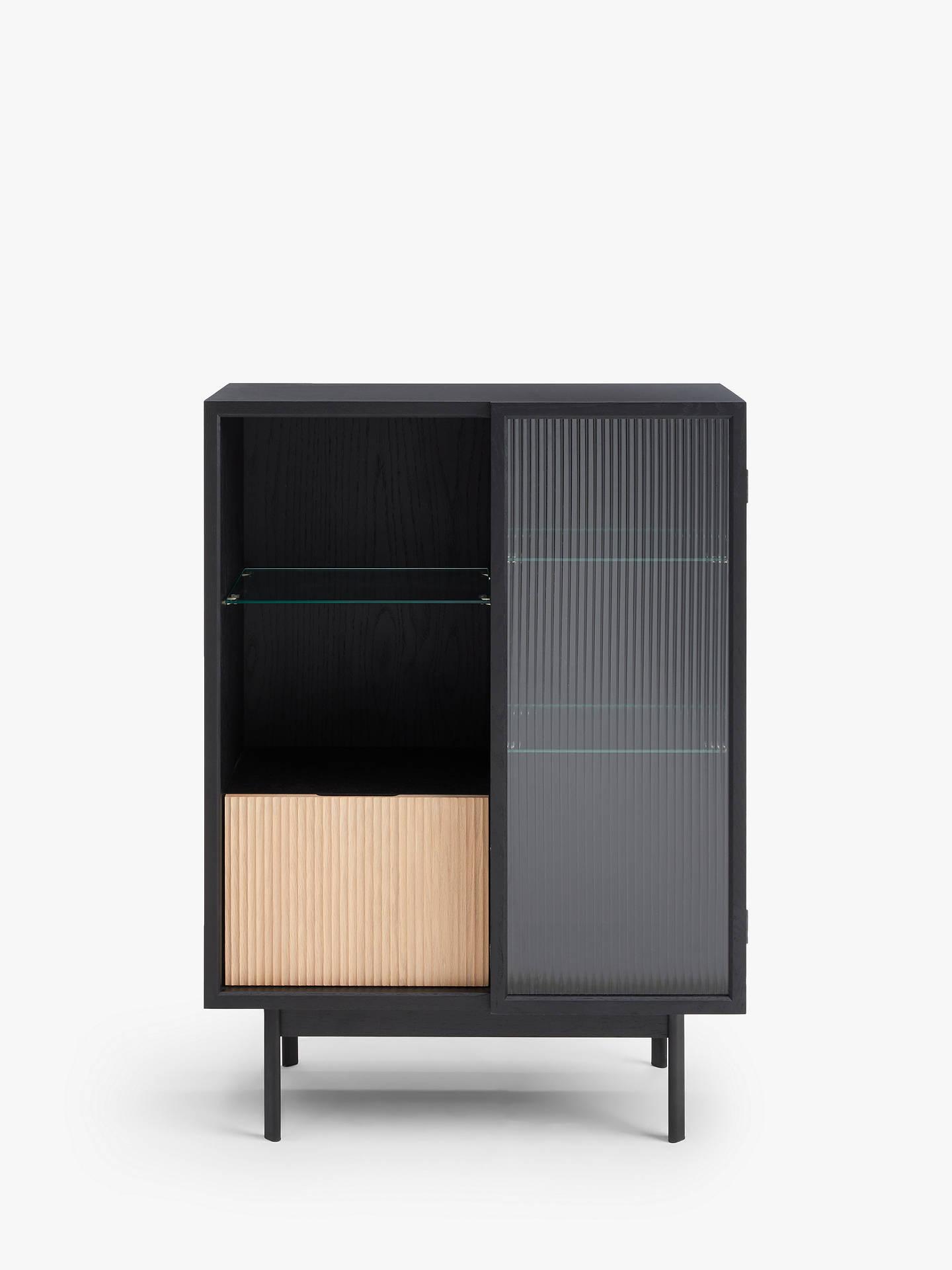 Fluted Gl Storage Cabinet Black
