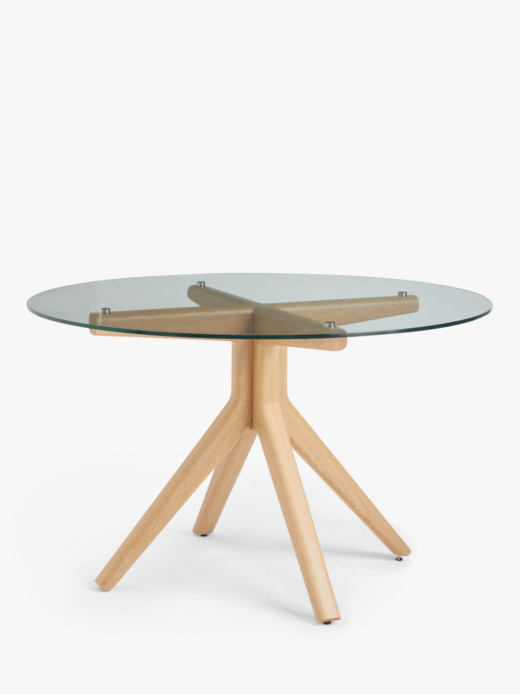 Poise 6 Seater Round Glass Dining Table, Round Glass Dining Table With Pedestal Base