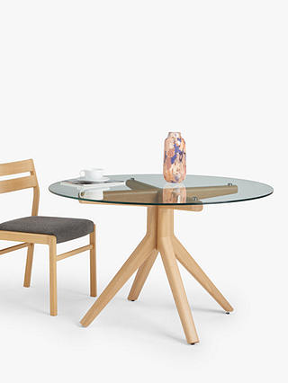 John Lewis Partners Poise 6 Seater, Round Glass And Oak Dining Table
