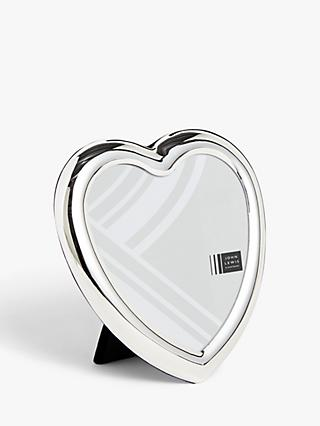 "John Lewis & Partners Heart Shape Photo Frame, 4 x 4"" (10 x 10cm), Silver Plated"