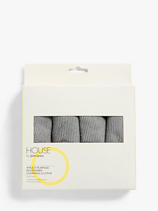 House by John Lewis Multi Purpose Microfibre Cleaning Cloths, Pack of 4