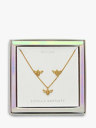 Estella Bartlett Bee Pendant Necklace and Earrings Jewellery Box Set, Gold