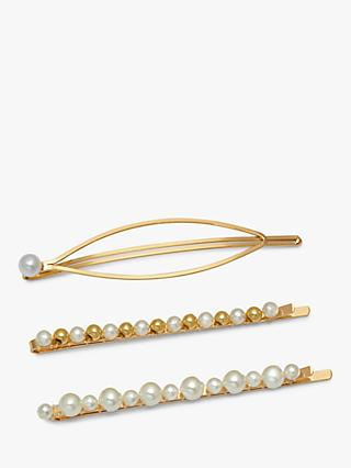 Estella Bartlett Pearl Embellished Hair Slide Set, Natural Pearl/Gold