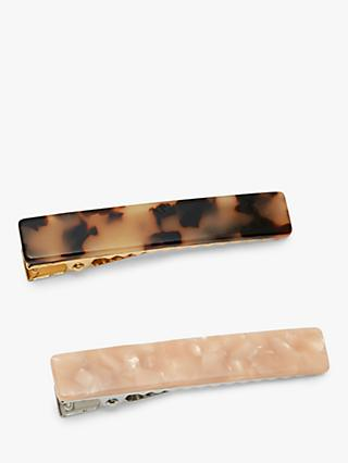 Estella Bartlett Marble Hair Clips, Pack of 2, Natural/Blush