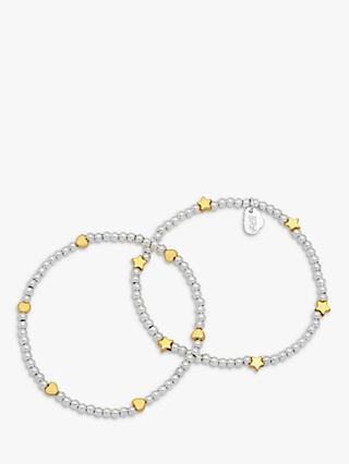 Estella Bartlett Heart and Star Double Beaded Bracelet, Silver/Gold