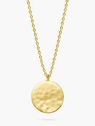 Estella Bartlett Hammered Disc Pendant Necklace, Gold