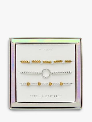 Estella Bartlett Hearts and Circles Bracelet Jewellery Gift Set, Silver/Gold