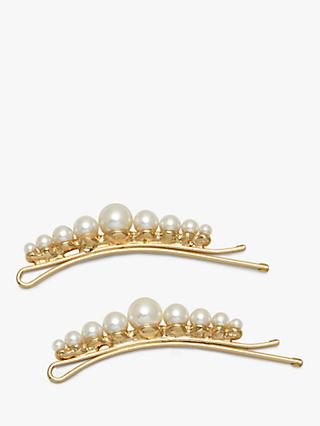 Estella Bartlett Pearl Hair Clips, Pack of 2, Natural Pearl
