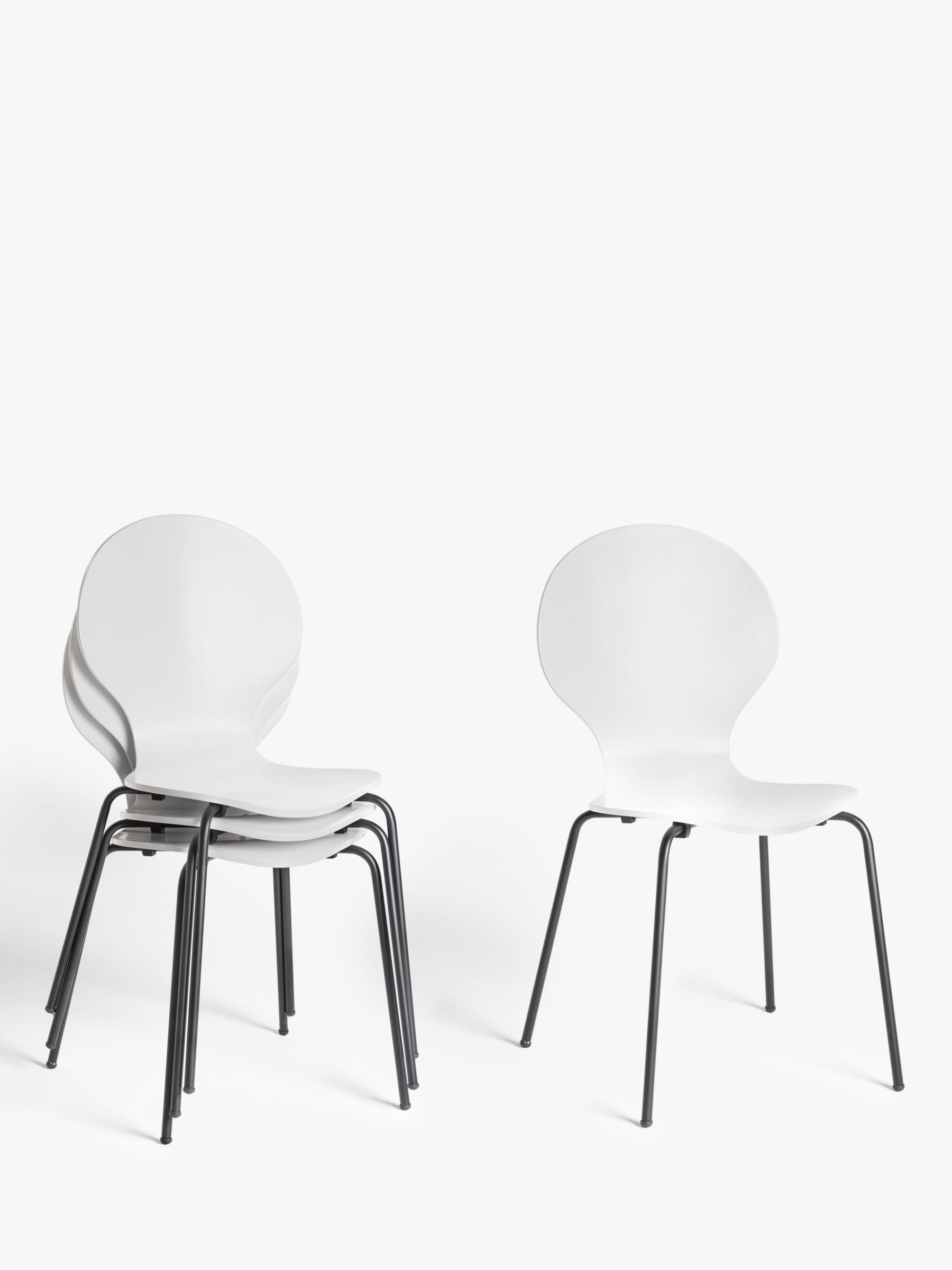 ANYDAY John Lewis & Partners Crescent Dining Chairs, White, Set of 9