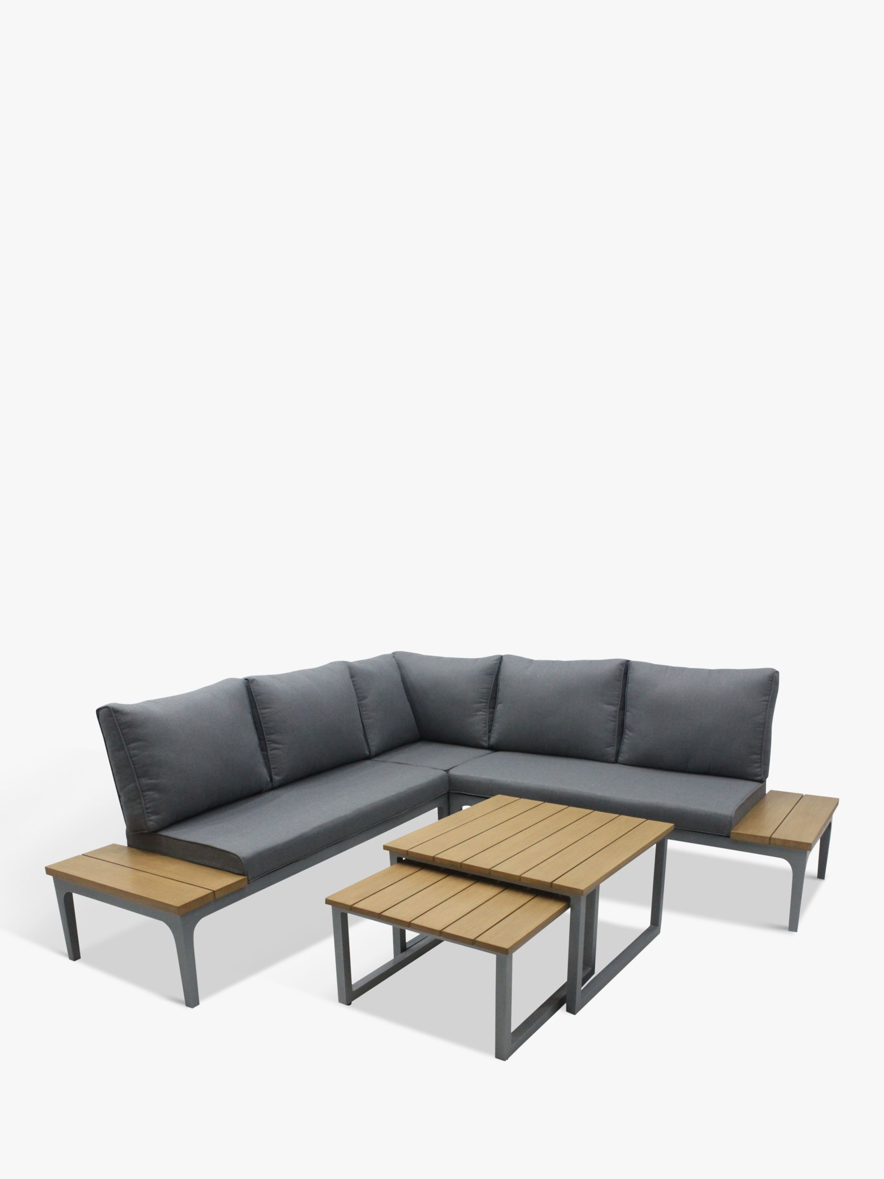 LG Outdoor LG Outdoor Siena 5-Seat Modular Garden Lounging Nested Tables & Chairs Set, Grey