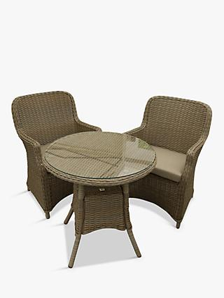 LG Outdoor Toulon 2-Seat Round Garden Bistro Dining Table & Armchairs, Brown