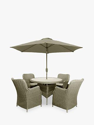 LG Outdoor Toulon 4-Seat Round Garden Dining Table & Armchairs with Parasol, Brown